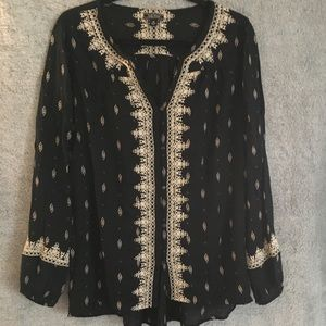 Lucky Brand Embroidered Flowy Button Down Blouse